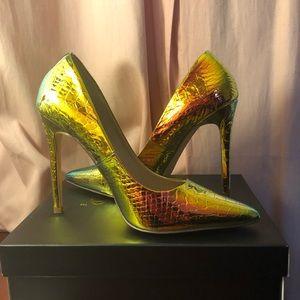 Snakeskin hologram heels